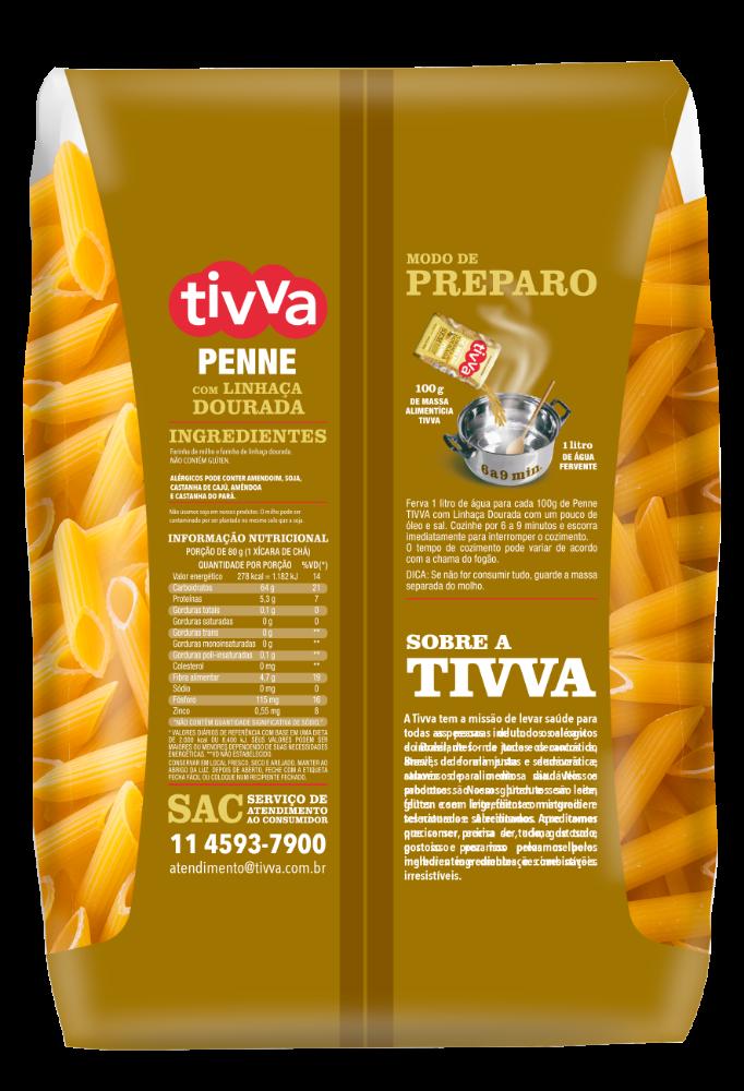 TIVVA_500g_PENNE DE MILHO - LINHAÇA DOURADA